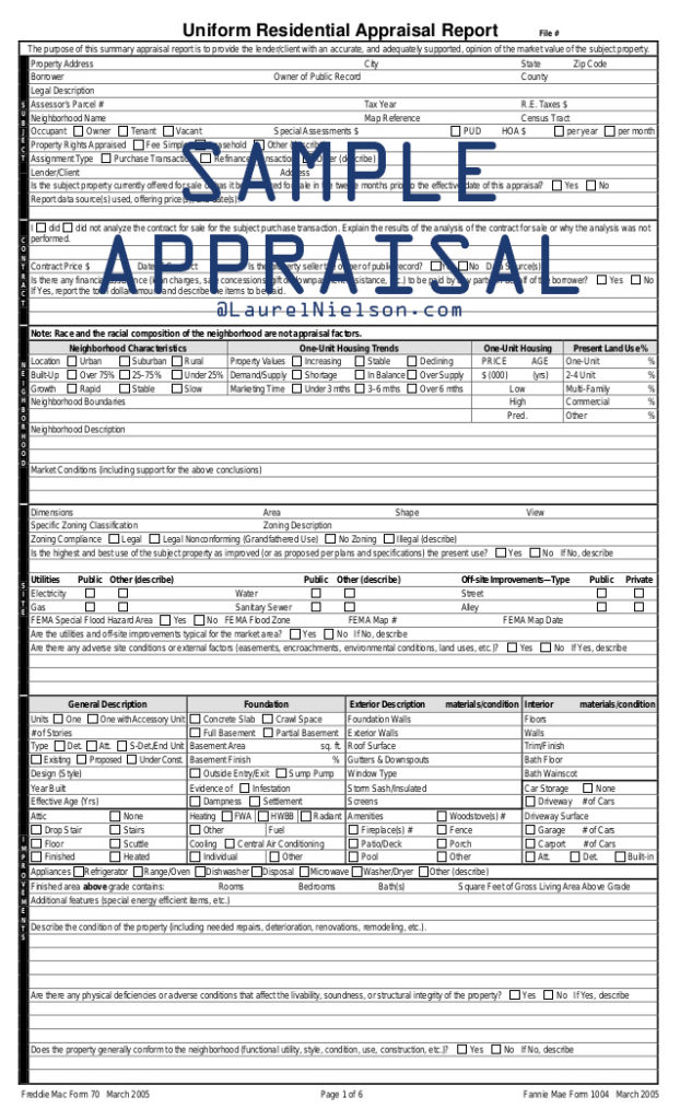 Sample Appraisal - Mortgage Closing Costs